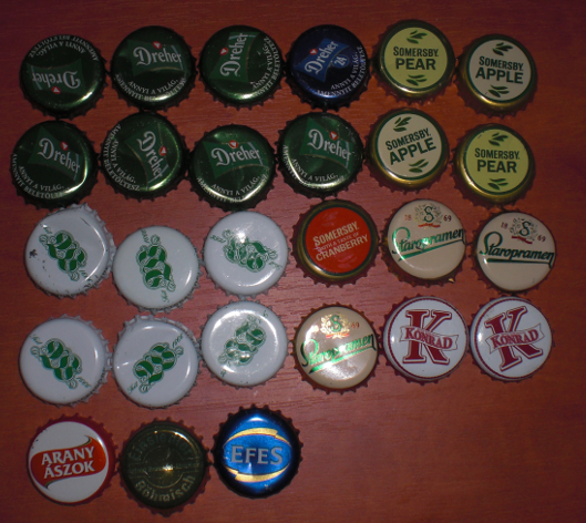 Bottle caps from Budapest
